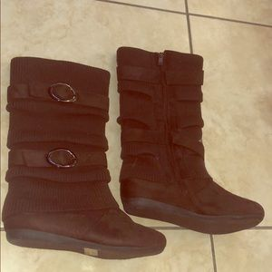 Brown Zippered Boots